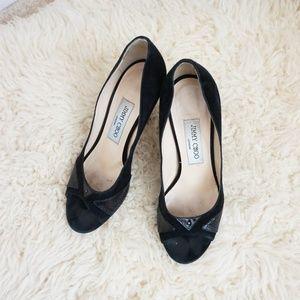 Jimmy Choo black suede leather peep toe heels